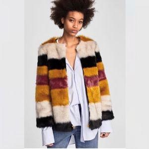 Zara Faux Fur Coat NWT